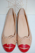 CHARLOTTE OLYMPIA Kiss Me Darcy Nude Beige Red Ballet Leather Flat Shoe 10 US 40