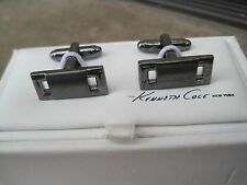 Kenneth Cole Reaction Cufflinks, Two-Tone Gunmetal Color, Modern Design