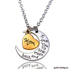 Mama Halskette: I love you to the moon and back (Ich liebe dich Kette Anhänger)