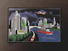 Vintage Deco Sample Xmas Greeting Card Plane Flying Over a Dramatic City Skyline