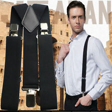 Adjustable Plain Unisex  50MM Heavy Duty Trouser Elastic Mens Braces Suspenders