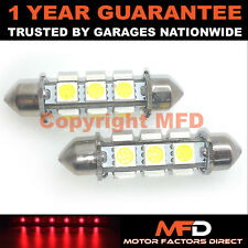 2X ROJO CANBUS INTERIOR MATRÍCULA 12 SUPER BRILLANTES SMD BOMBILLAS LED 44MM