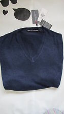 new 100%  RALPH LAUREN DENIM mens 100% CASHMERE V neck navy blue JUMPER £565 XL