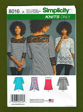 NEW! Simplicity Sewing Pattern 8016~Easy Knit Pullover Tops / Tunics (XXS-XXL)