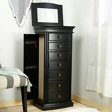 Jewelry Armoire With Mirror 7 Drawer Black Storage Contemporary Wood Organizer