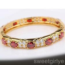 Pretty Ruby 18k Gold Filled Hinged Womens Bangle Red Crystal Bracelet