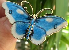 LARGE Norwegian Sterling Silver & Enamel Butterfly Brooch - Hroar Prydz Norway