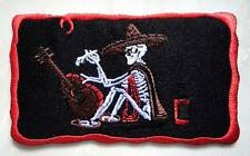 #46 Smoke Drunk Cowboy Skull with Guitar Embroidered Iron on Patch Free Shipping