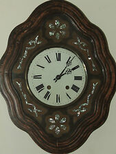 Antique Working 1800's French Victorian Regulator Bakers Wall Clock w/ MOP Inlay