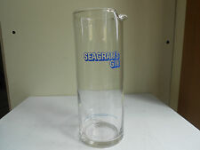 SEAGRAM'S GIN CLEAR GLASS CARAFE PITCHER Blue LABEL