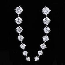 Womens Girls 925 Sterling Silver Crystal Clip On Ear Cuff Long Stud Earrings