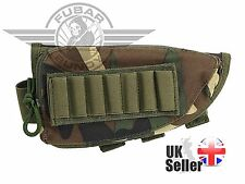 Airsoft / Air Rifle Stock Ammo Pouch w/Cheek Leather Pad in Woodland Camo