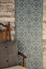 York Wallcovering Ashford Geometric Trellis Teal Blue Green Grasscloth Wallpaper