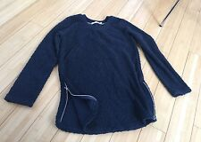 Designer Alternative Apparel Women's Navy Blue Sweatshirt Tunic Everyday Size XS
