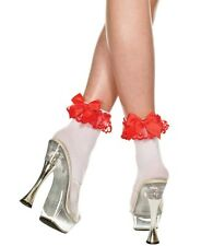 White Opaque Red Ruffle Lace Trim & Satin Bow Socks Sexy Designer Lingerie P546