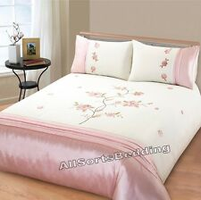 DOUBLE BED SIZE DUVET QUILT COVER SET ANGELICA / PINK FLORAL / FLOWERS