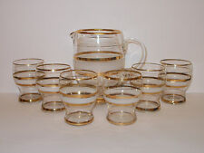 6 x Low Ball Tumblers Glasses and Jug Set Vintage Style Lemonade Cordial Lovely