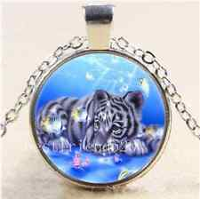 Baby Tiger And Fish Cabochon Glass Tibet Silver Chain Pendant Necklace#6415