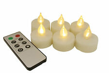 Set of 6 Flameless LED Tealight Candles w/ Remote 400 Hours Battery Life (Ivory)
