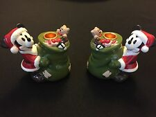 Disney Christmas Santa Mickey Mouse Candle Holder Ceramic Figurine Set of 2