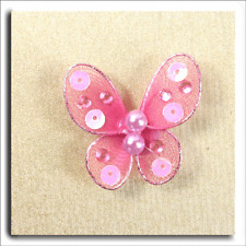 12 SMALL PINK SHEER WIRED FABRIC BUTTERFLY WITH GEMS  APPROX 3 x 3cm