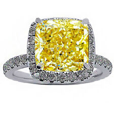 1.65 CARAT INTENSE YELLOW DIAMOND HALO ENGAGEMENT RING 18K WHITE GOLD CERTIFIED