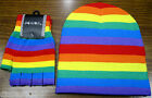 Rainbow Stripes Stripped Beanie Ski Hat Cap with Matching Gloves! New with Tags!