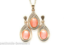 9ct Gold Coral Pendant and Earring Set Made in UK Gift Boxed