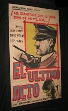 Original HITLER THE LAST TEN DAYS 1 of A Kind Hand Painted in Argentina 1 sheet