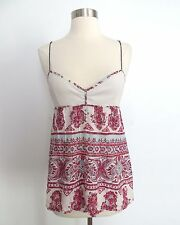 Free People size 8 printed v-neck tank top blouse in red blue off-white summer