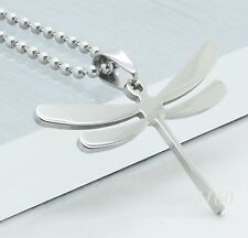 Stainless Steel Dog Tag Dragonfly Pendant Ball Chain Necklace P023