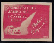 1937 INDIA rocket mail stamp BOY SCOUTS JAMBOREE - signed Smith