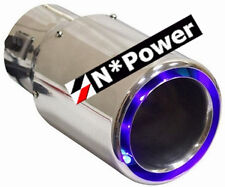 "BLUE LED EXHAUST TIP POLISHED STAINLESS STEEL 2.5"" IN 3.5"" OUT WITH FUSE UTE"