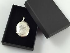 925 Sterling Silver Hallmarked Solid Engraved Oval Family Locket FREE ENGRAVING