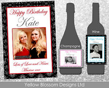 Personalised Wine Champagne Bottle Label Birthday Classic Red & Black Photo Gift