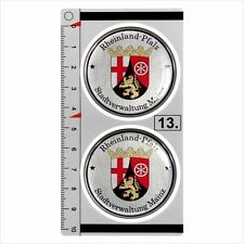 Rheinland-Pfalz​ set of 2 German Number Plate Seal Stadt 3D Domed Sticker badge