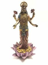 Standing Lakshmi Statue Hindu Goddess of Good Fortune & Wealth Sculpture Figure