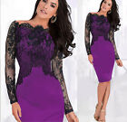 Womens Elegant Lace Off-Shoulder Formal Evening Cocktail Party Sexy Pencil Dress
