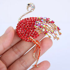 "3.35"" Bird Flamingo Animal Brooch Pin Red Austrian Crystal Gold GP Delicate"
