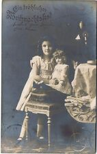 ZL379 Vintage Used RPPC Young Girl Fancy Dress Doll and Ornate Buggy German 1908