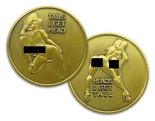 NUDE Heads or Tails Funny Adult Novelty Challenge Flip Coin Antique Gold