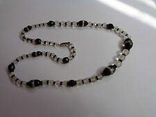 VINTAGE GRADUATED GLASS BEAD NECKLACE BLACK AND CLEAR FACETED BEADS 20""
