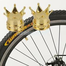 2x Bicycle Bike Crown Wheel Tyre Stem Air Valve Caps Screw Dust Cover Gold