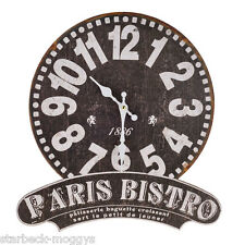 PARIS BISTRO BLACK WALL CLOCK FRENCH SHABBY CHIC CAFE  KITCHEN DECOR