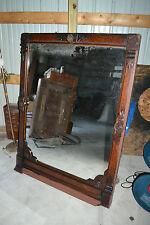 Large Antique Victorian Eastlake ornate Carved Wood Framed wall mirror Mantle
