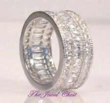 3 Ct Emerald Princess Diamond Wedding Band Wide Eternity Style Ring White Gold