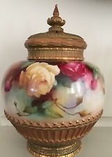 Royal Worcester Hand Painted Pot Pourri with Roses Signed