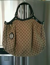 Gucci Large Sukey Classic Ebony GG Monogram Canvas Leather tote bag