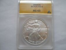 2005 silver eagle ms 63  anacs certified