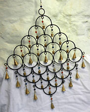 Grand fait à la main en fonte & laiton suspension multi bell wind chime-bnib
